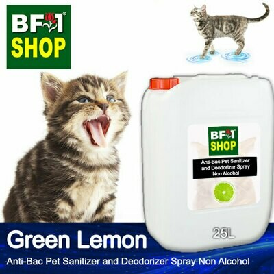Anti-Bac Pet Sanitizer and Deodorizer Spray (ABPSD-Cat) - Non Alcohol with Lemon - Green Lemon - 25L for Cat and Kitten