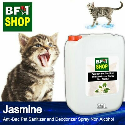 Anti-Bac Pet Sanitizer and Deodorizer Spray (ABPSD-Cat) - Non Alcohol with Jasmine - 25L for Cat and Kitten