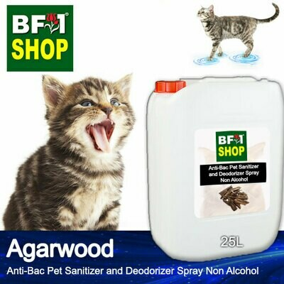 Anti-Bac Pet Sanitizer and Deodorizer Spray (ABPSD-Cat) - Non Alcohol with Agarwood - 25L for Cat and Kitten