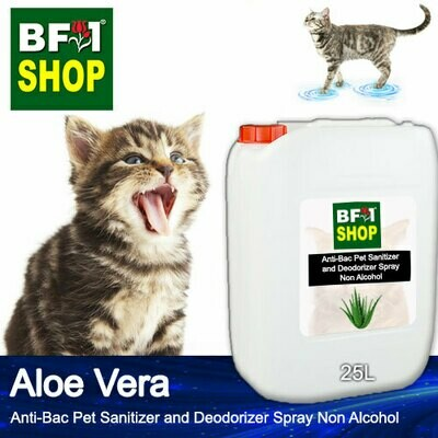 Anti-Bac Pet Sanitizer and Deodorizer Spray (ABPSD-Cat) - Non Alcohol with Aloe Vera - 25L for Cat and Kitten
