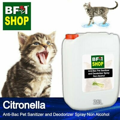Anti-Bac Pet Sanitizer and Deodorizer Spray (ABPSD-Cat) - Non Alcohol with Citronella - 25L for Cat and Kitten