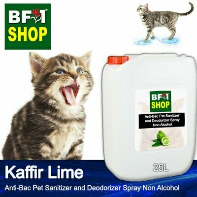Anti-Bac Pet Sanitizer and Deodorizer Spray (ABPSD-Cat) - Non Alcohol with lime - Kaffir Lime - 25L for Cat and Kitten