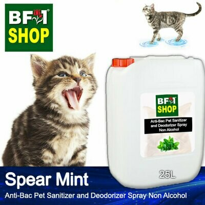 Anti-Bac Pet Sanitizer and Deodorizer Spray (ABPSD-Cat) - Non Alcohol with mint - Spear Mint - 25L for Cat and Kitten