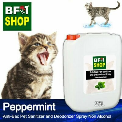 Anti-Bac Pet Sanitizer and Deodorizer Spray (ABPSD-Cat) - Non Alcohol with mint - Peppermint - 25L for Cat and Kitten