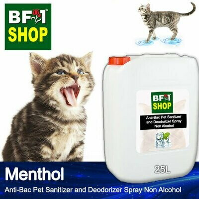Anti-Bac Pet Sanitizer and Deodorizer Spray (ABPSD-Cat) - Non Alcohol with Menthol - 25L for Cat and Kitten
