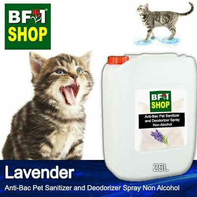 Anti-Bac Pet Sanitizer and Deodorizer Spray (ABPSD-Cat) - Non Alcohol with Lavender - 25L for Cat and Kitten