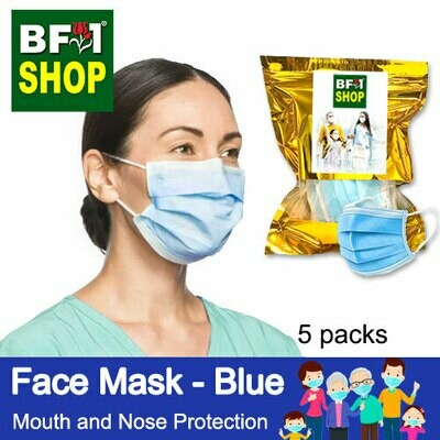 Face Mask - Blue - Mouth and Nose Protection - 5packs - 50pc/pack