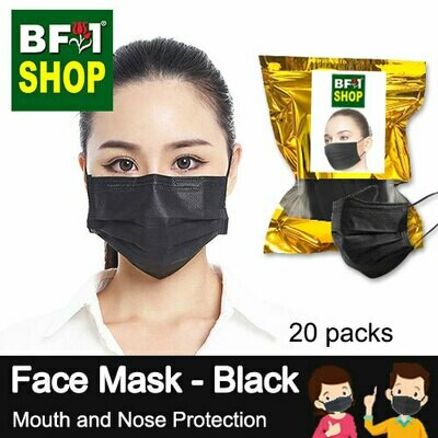 Face Mask - Black - Mouth and Nose Protection - 20packs - 50pc/pack