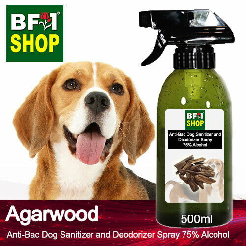 Anti-Bac Dog Sanitizer and Deodorizer Spray (ABPSD-Dog) - 75% Alcohol with Agarwood - 500ml for Dog and Puppy ⭐⭐⭐⭐⭐