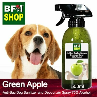 Anti-Bac Dog Sanitizer and Deodorizer Spray (ABPSD-Dog) - 75% Alcohol with Apple - Green Apple - 500ml for Dog and Puppy ⭐⭐⭐⭐⭐