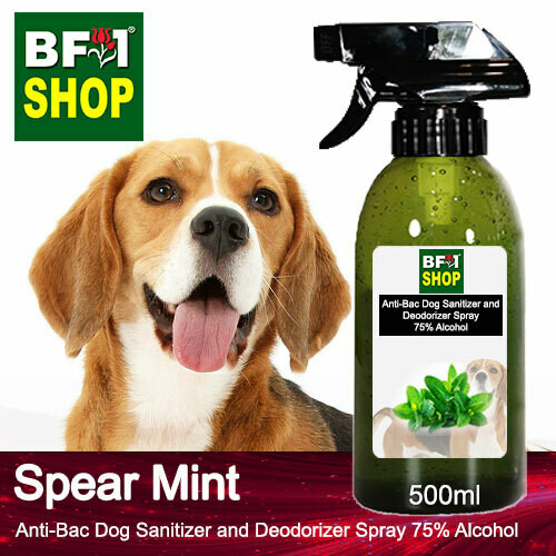 Anti-Bac Dog Sanitizer and Deodorizer Spray (ABPSD-Dog) - 75% Alcohol with mint - Spear Mint - 500ml for Dog and Puppy ⭐⭐⭐⭐⭐