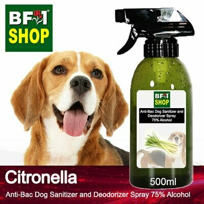 Anti-Bac Dog Sanitizer and Deodorizer Spray (ABPSD-Dog) - 75% Alcohol with Citronella - 500ml for Dog and Puppy ⭐⭐⭐⭐⭐