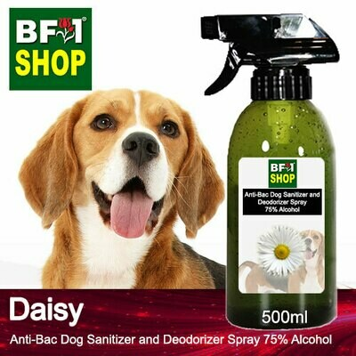 Anti-Bac Dog Sanitizer and Deodorizer Spray (ABPSD-Dog) - 75% Alcohol with Daisy - 500ml for Dog and Puppy ⭐⭐⭐⭐⭐