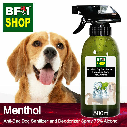 Anti-Bac Dog Sanitizer and Deodorizer Spray (ABPSD-Dog) - 75% Alcohol with Menthol - 500ml for Dog and Puppy ⭐⭐⭐⭐⭐