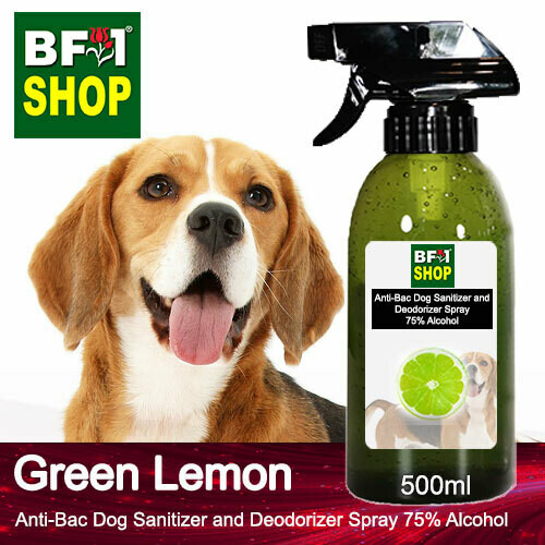 Anti-Bac Dog Sanitizer and Deodorizer Spray (ABPSD-Dog) - 75% Alcohol with Lemon - Green Lemon - 500ml for Dog and Puppy ⭐⭐⭐⭐⭐