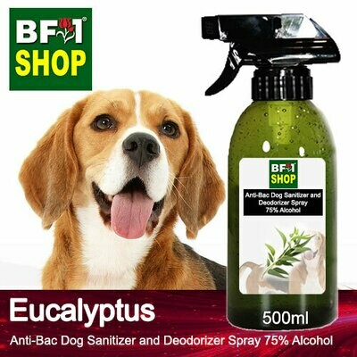 Anti-Bac Dog Sanitizer and Deodorizer Spray (ABPSD-Dog) - 75% Alcohol with Eucalyptus - 500ml for Dog and Puppy ⭐⭐⭐⭐⭐