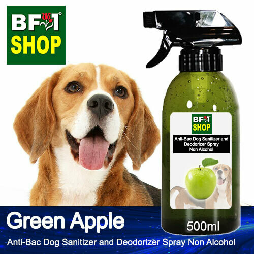 Anti-Bac Dog Sanitizer and Deodorizer Spray (ABPSD-Dog) - Non Alcohol with Apple - Green Apple - 500ml for Dog and Puppy ⭐⭐⭐⭐⭐