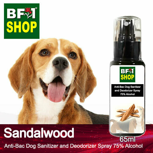 Anti-Bac Dog Sanitizer and Deodorizer Spray (ABPSD-Dog) - 75% Alcohol with Sandalwood - 65ml for Dog and Puppy ⭐⭐⭐⭐⭐
