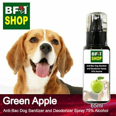 Anti-Bac Dog Sanitizer and Deodorizer Spray (ABPSD-Dog) - 75% Alcohol with Apple - Green Apple - 65ml for Dog and Puppy ⭐⭐⭐⭐⭐