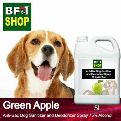 Anti-Bac Dog Sanitizer and Deodorizer Spray (ABPSD-Dog) - 75% Alcohol with Apple - Green Apple - 5L for Dog and Puppy ⭐⭐⭐⭐⭐