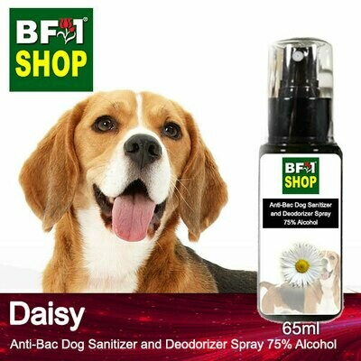 Anti-Bac Dog Sanitizer and Deodorizer Spray (ABPSD-Dog) - 75% Alcohol with Daisy - 65ml for Dog and Puppy ⭐⭐⭐⭐⭐