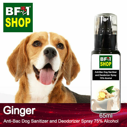 Anti-Bac Dog Sanitizer and Deodorizer Spray (ABPSD-Dog) - 75% Alcohol with Ginger - 65ml for Dog and Puppy ⭐⭐⭐⭐⭐
