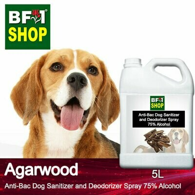 Anti-Bac Dog Sanitizer and Deodorizer Spray (ABPSD-Dog) - 75% Alcohol with Agarwood - 5L for Dog and Puppy ⭐⭐⭐⭐⭐