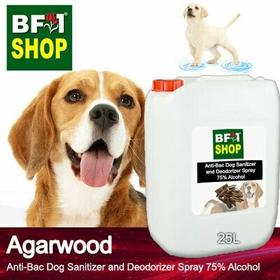 Anti-Bac Dog Sanitizer and Deodorizer Spray (ABPSD-Dog) - 75% Alcohol with Agarwood - 25L for Dog and Puppy ⭐⭐⭐⭐⭐
