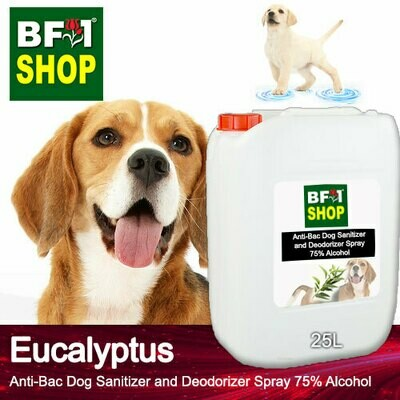 Anti-Bac Dog Sanitizer and Deodorizer Spray (ABPSD-Dog) - 75% Alcohol with Eucalyptus - 25L for Dog and Puppy ⭐⭐⭐⭐⭐