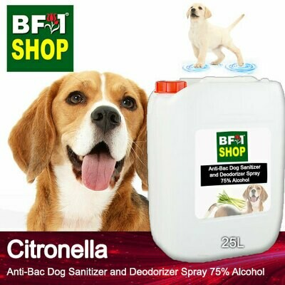 Anti-Bac Dog Sanitizer and Deodorizer Spray (ABPSD-Dog) - 75% Alcohol with Citronella - 25L for Dog and Puppy ⭐⭐⭐⭐⭐