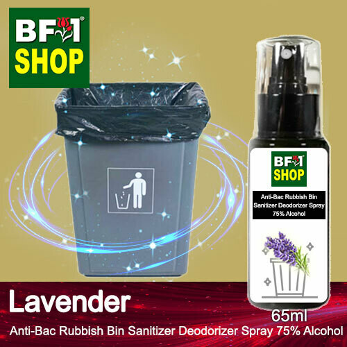 (ABRBSD) Lavender Anti-Bac Rubbish Bin Sanitizer Deodorizer Spray - 75% Alcohol - 65ml