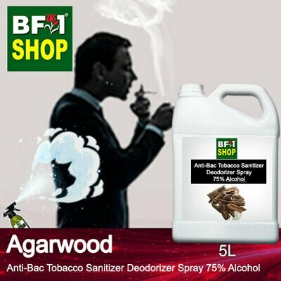 (ABTSD1) Agarwood Anti-Bac Tobacco Sanitizer Deodorizer Spray - 75% Alcohol - 5L