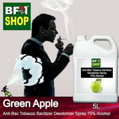 (ABTSD1) Apple - Green Apple Anti-Bac Tobacco Sanitizer Deodorizer Spray - 75% Alcohol - 5L