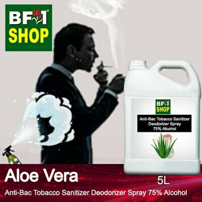 (ABTSD1) Aloe Vera Anti-Bac Tobacco Sanitizer Deodorizer Spray - 75% Alcohol - 5L