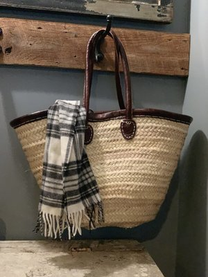 Large Leather Trimmed Market Bag