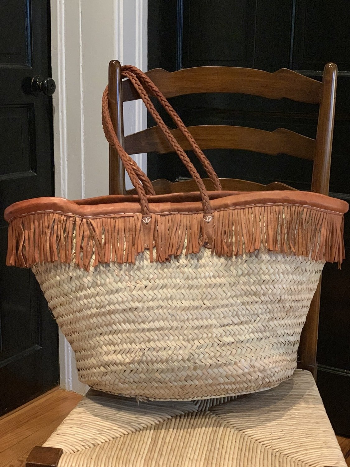 Leather Fringe Market Bag