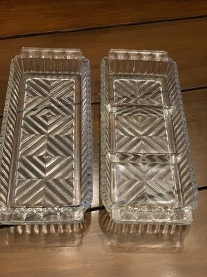 Vintage Cut Glass Herringbone Relish Trays