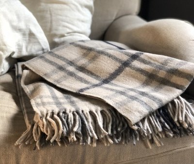 Recycled Cream & Gray Wool Blanket