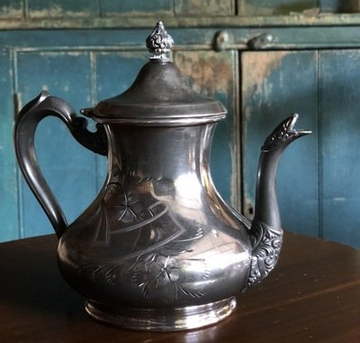 Etched Silver Tea Pot