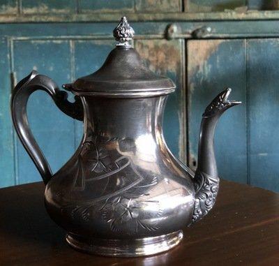 Etched Silver Tea Pot