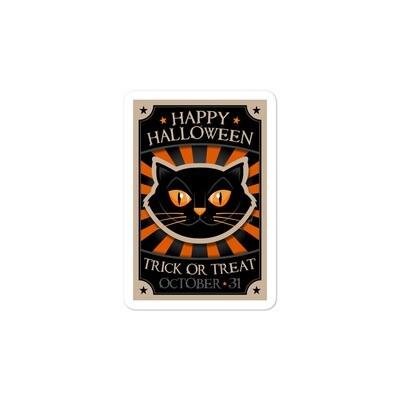 Vintage Style Halloween Cat Sticker