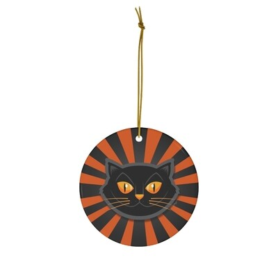 Halloween Cat Ornament - Orange & Black Pinwheel