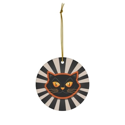 Halloween Cat Ornament - Black & White Pinwheel