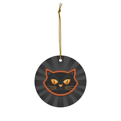 Halloween Cat Ornament - Grey & Black Pinwheel