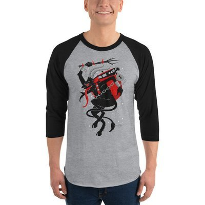 Men's Krampus Raglan Shirt - Grey