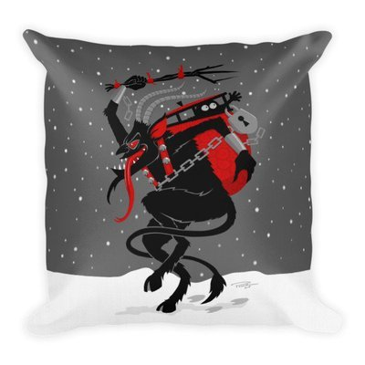 Winter Storm Krampus Throw Pillow