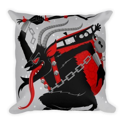 Close up Krampus throw pillow
