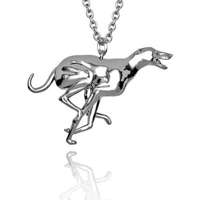 Stunning Greyhound pendant (B) in Hallmarked solid Sterling Silver and chain. Luxury Gift with extraordinary detail.