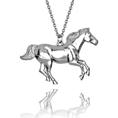 Beautiful Horse Galloping pendant in Hallmarked solid Sterling Silver and chain. Luxury Gift with extraordinary detail.