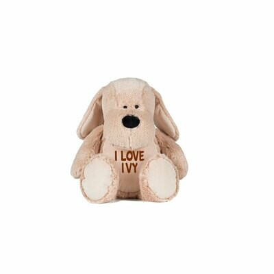 Cuddly Dog with embroidered message